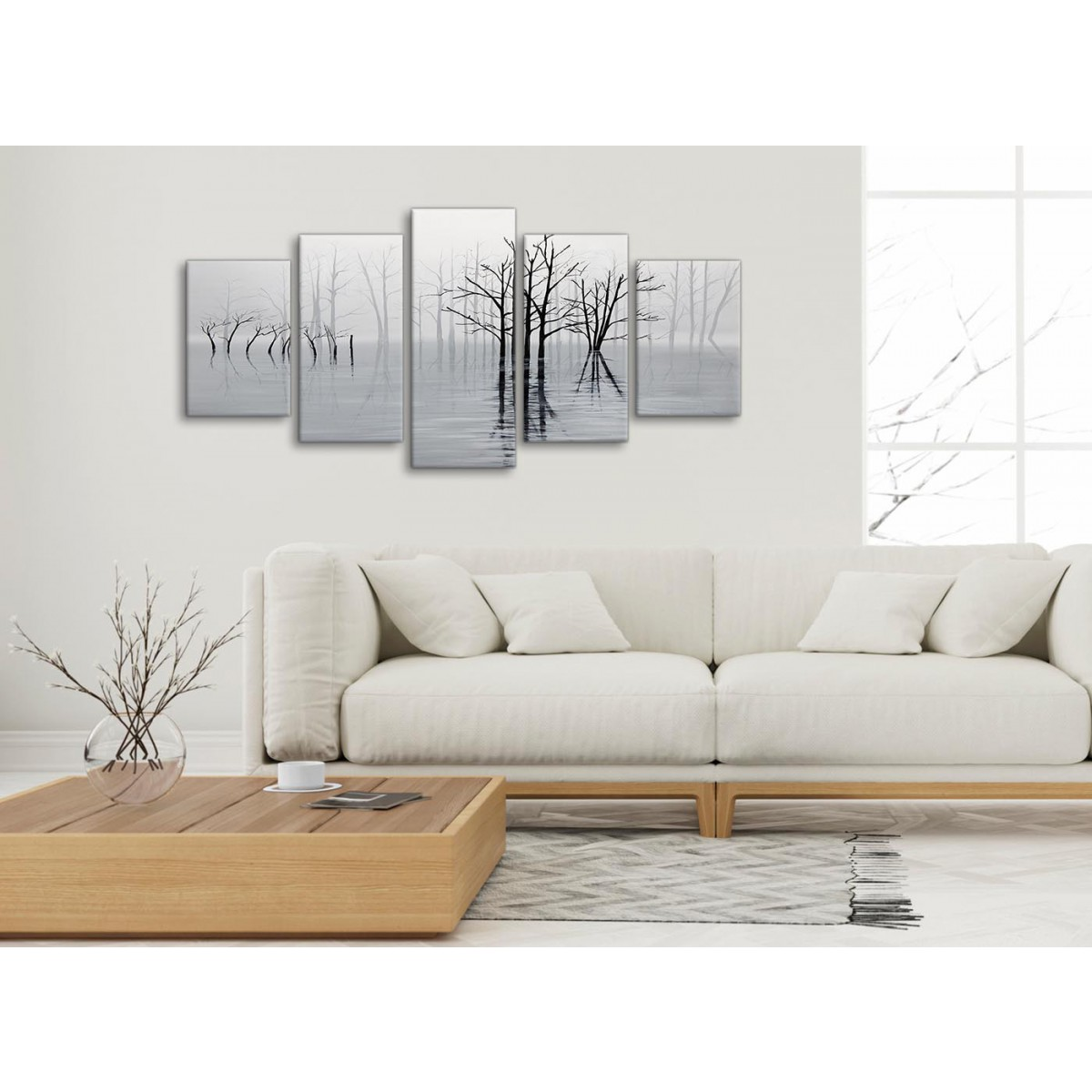 Bedroom Wall Art Trees 5 Panel Black White Grey Tree Landscape Painting Bedroom