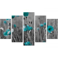 Extra Large Teal Poppies Canvas Wall Art 5 Piece in Black ...