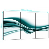 Large Abstract Canvas Wall Art Set of 3 in Teal