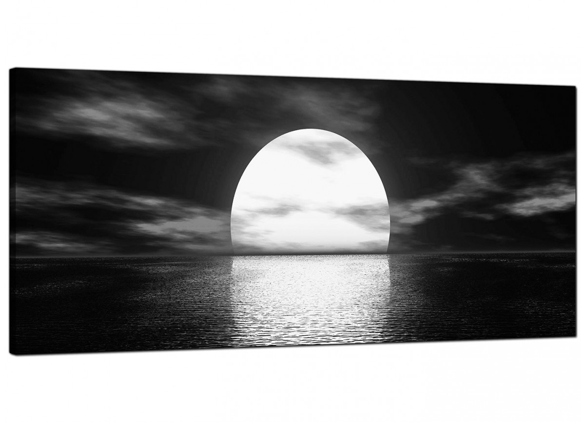 Black And White Canvas Prints Modern Black And White Canvas Wall Art Of An Ocean Sunset