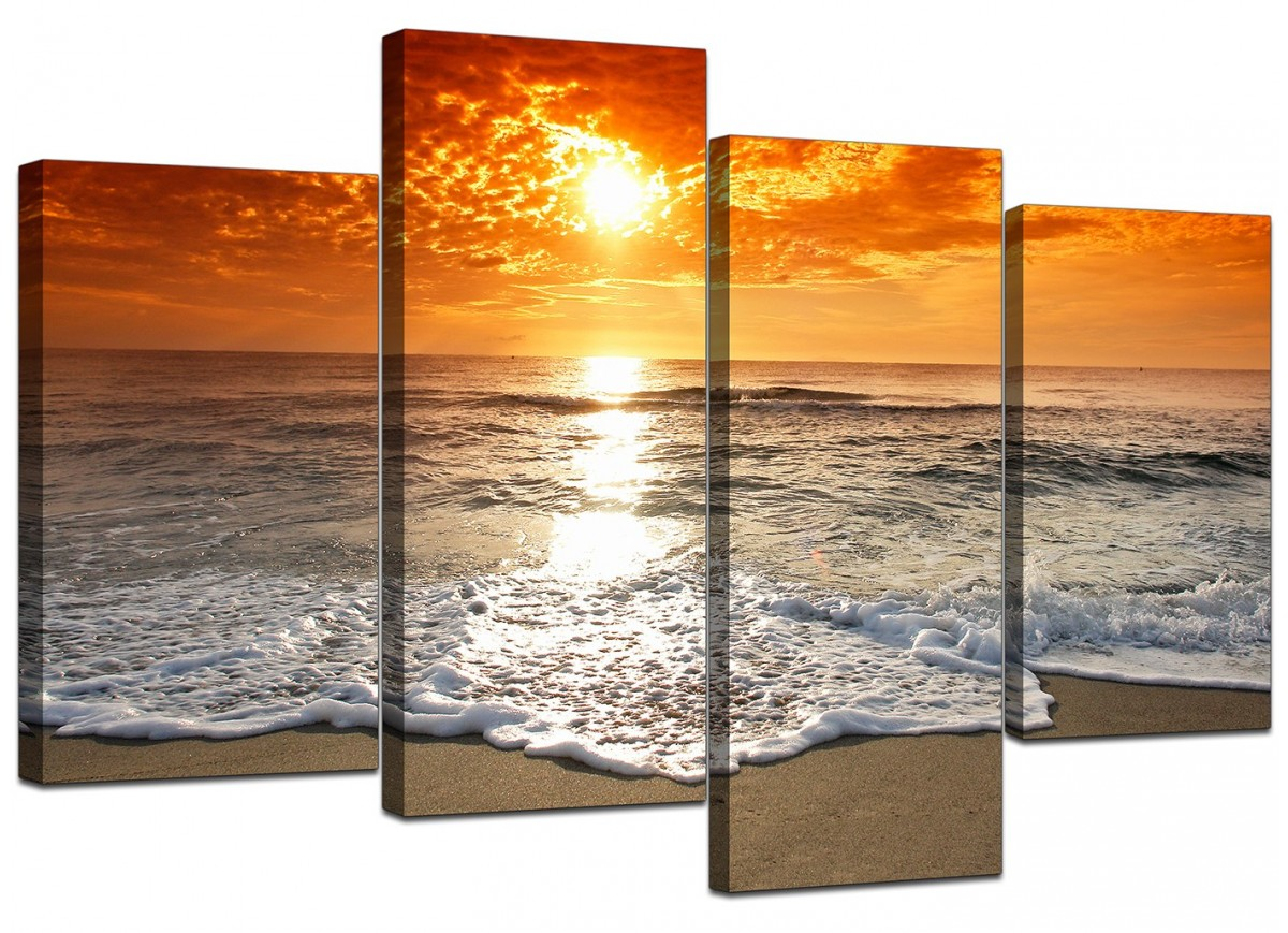 Cheap Canvas Pictures Orange Beach Sunset Canvas Prints 130cm X 67cm