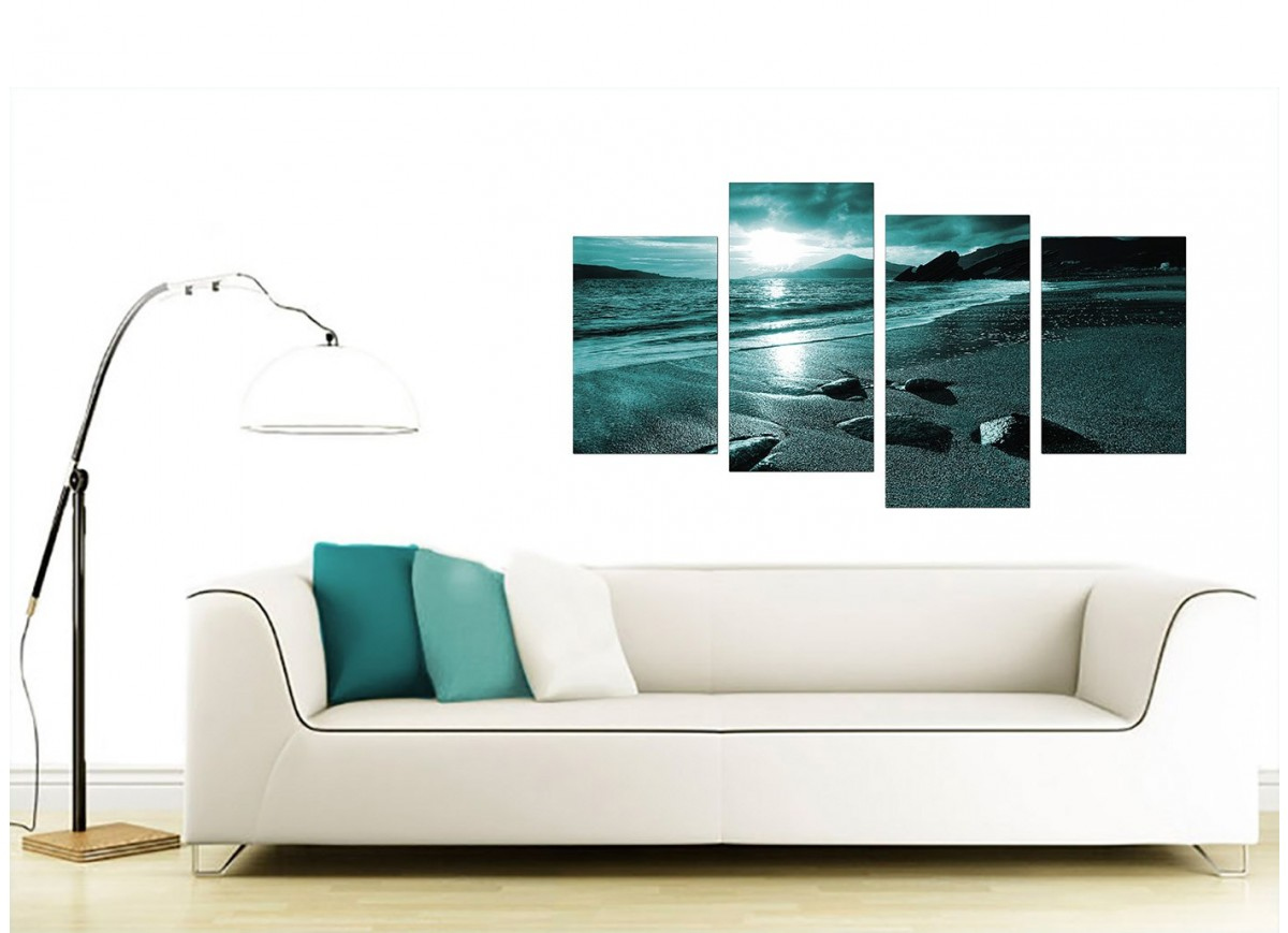 Large Canvas Prints For Living Room Canvas Art Of Sunset In Teal For Your Living Room