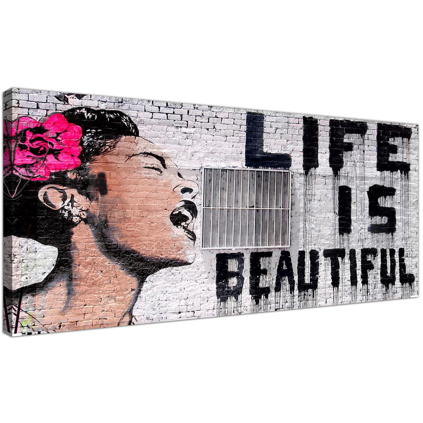 Banksy Canvas Art Large Banksy Life Is Beautiful Pink Modern Canvas Art 120cm 1232