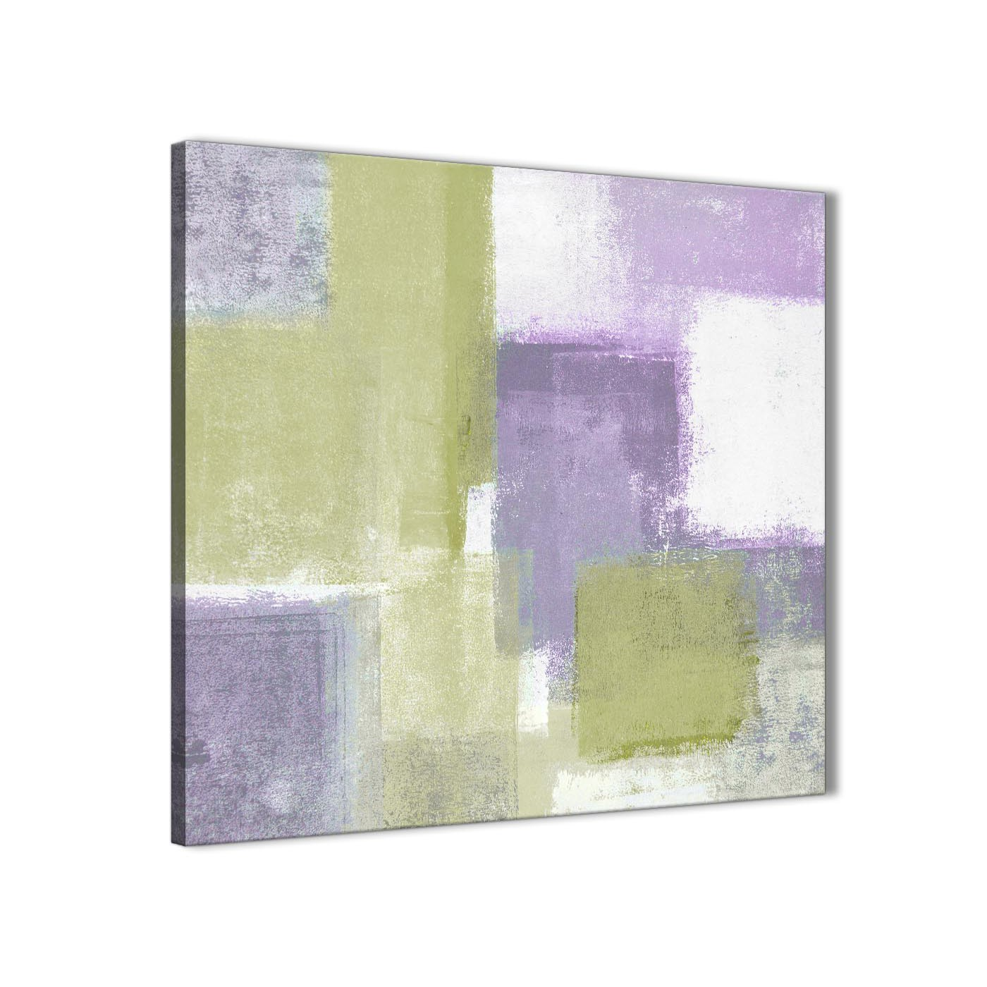 Lime Green Purple Abstract Painting Canvas Wall Art Print