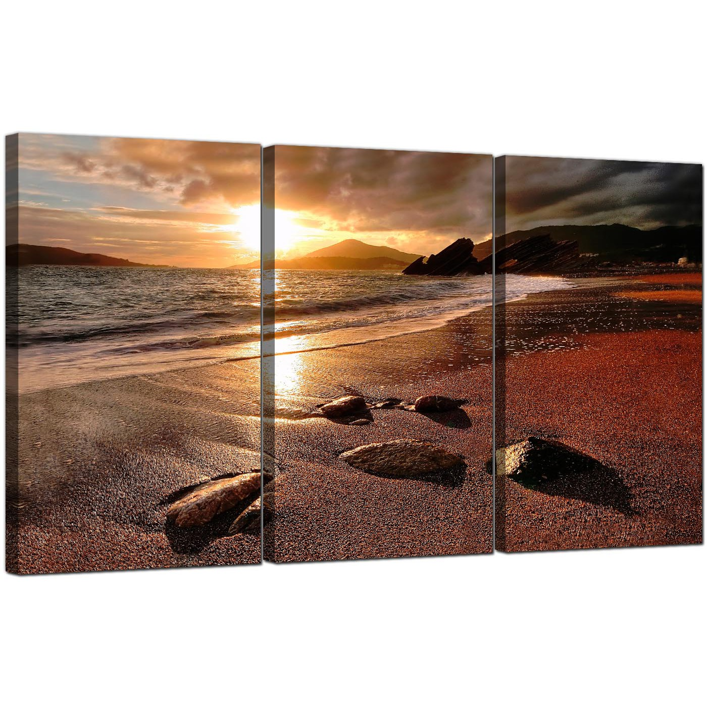 Cheap Canvas Pictures Cheap Beach Sunset Canvas Prints Set Of 3 For Your Bedroom