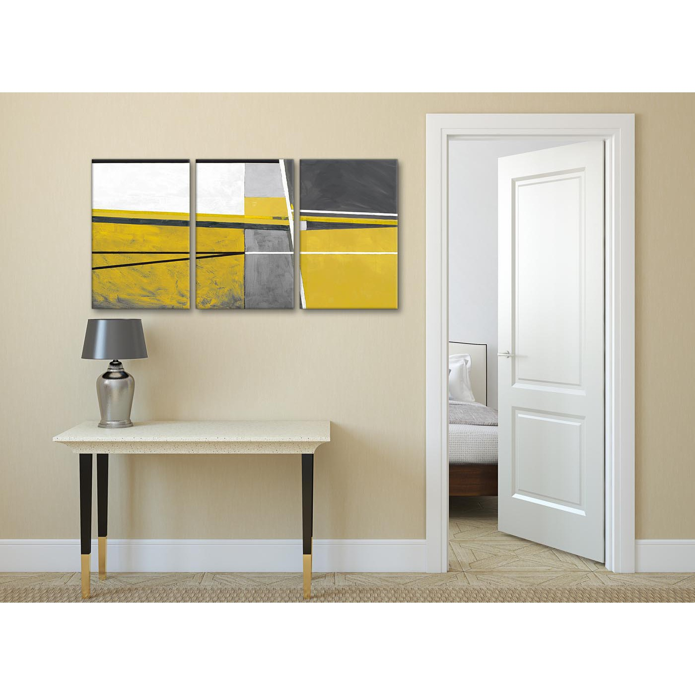 Mustard Accessories For Living Room 3 Panel Mustard Yellow Grey Painting Hallway Canvas
