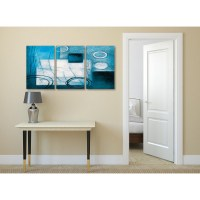 3 Piece Teal White Painting Kitchen Canvas Pictures ...