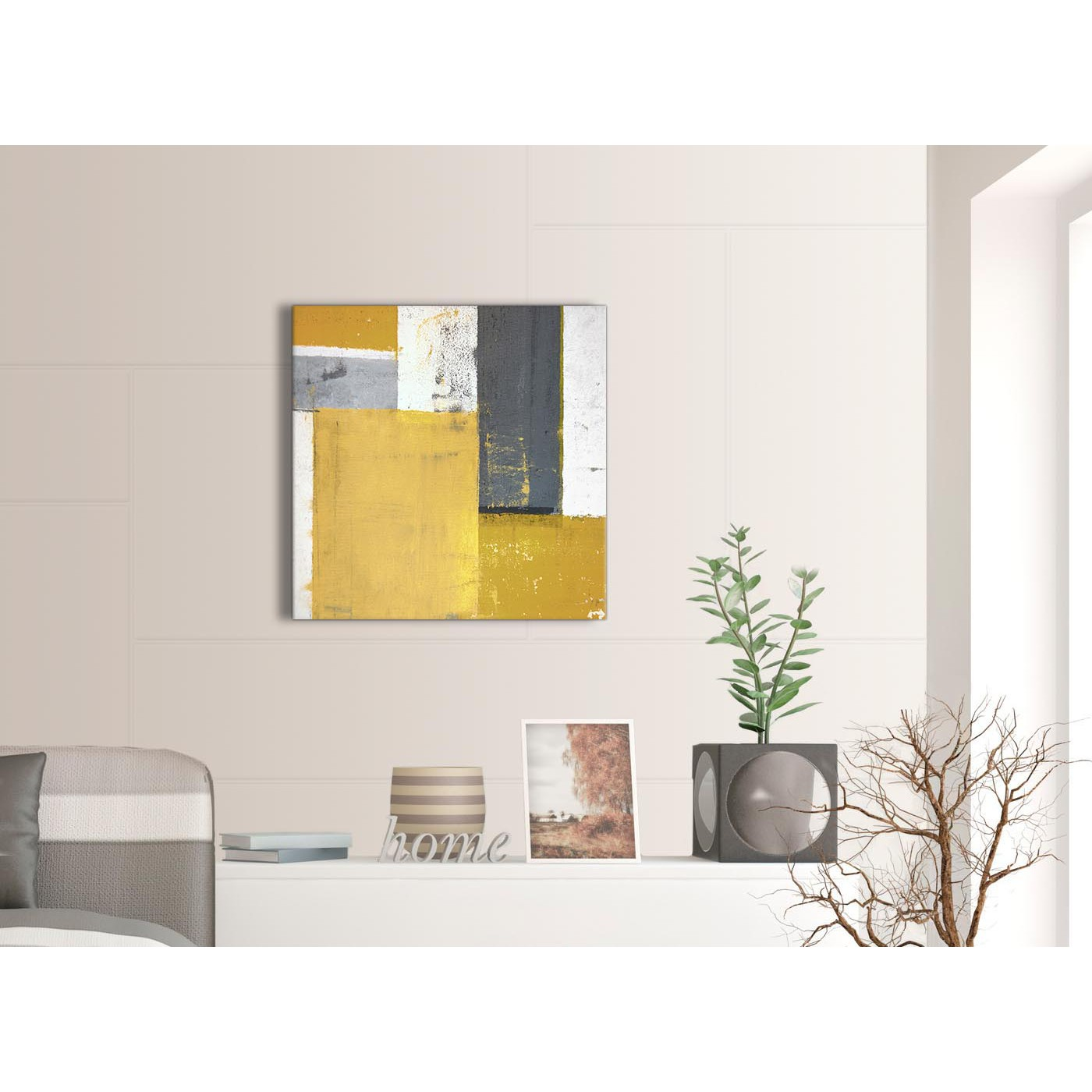 Mustard Yellow Grey Abstract Painting Canvas Wall Art