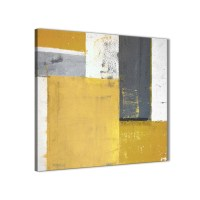 Mustard Yellow Grey Abstract Painting Canvas Wall Art