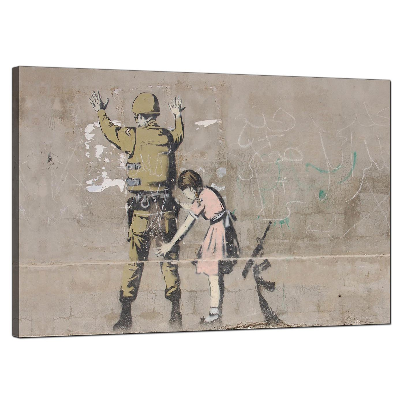 Banksy Canvas Art Large Banksy Frisk Girl Searches A Soldier Modern Canvas Art 91cm 165l