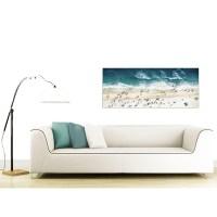 Blue Ocean Beach Panoramic Scene Canvas Wall Art