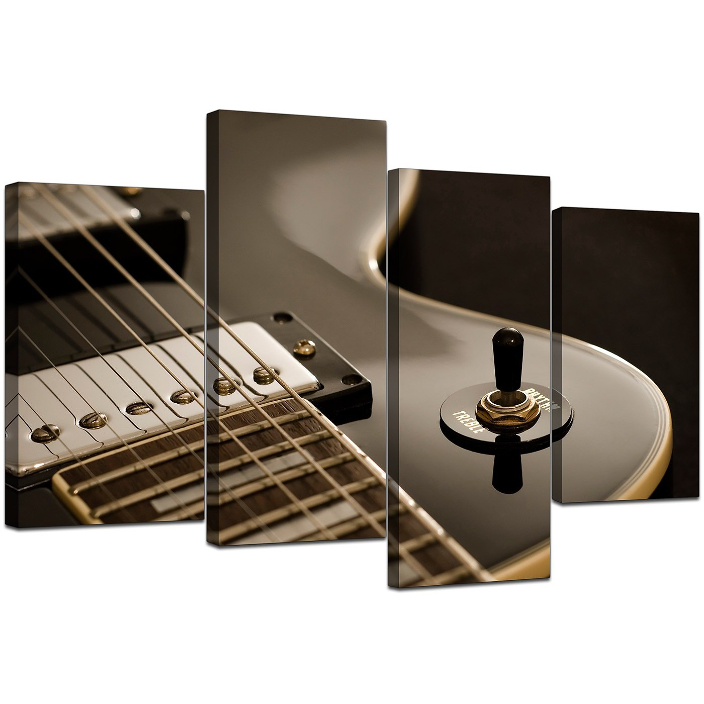 Black And White Artwork For Bedroom Black White Electric Guitar Gibson Music Canvas Split 4 Panel 130cm 4125