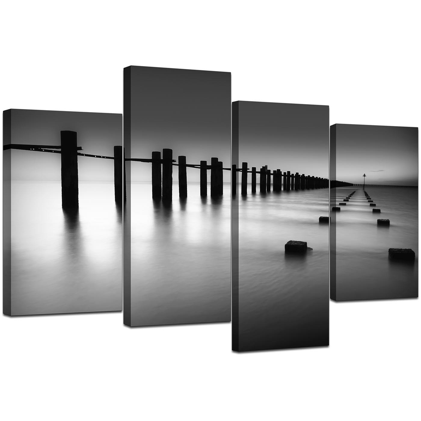 Black And White Canvas Pictures Black White Beach Scenery Landscape Canvas Split 4 Part 130cm 4085