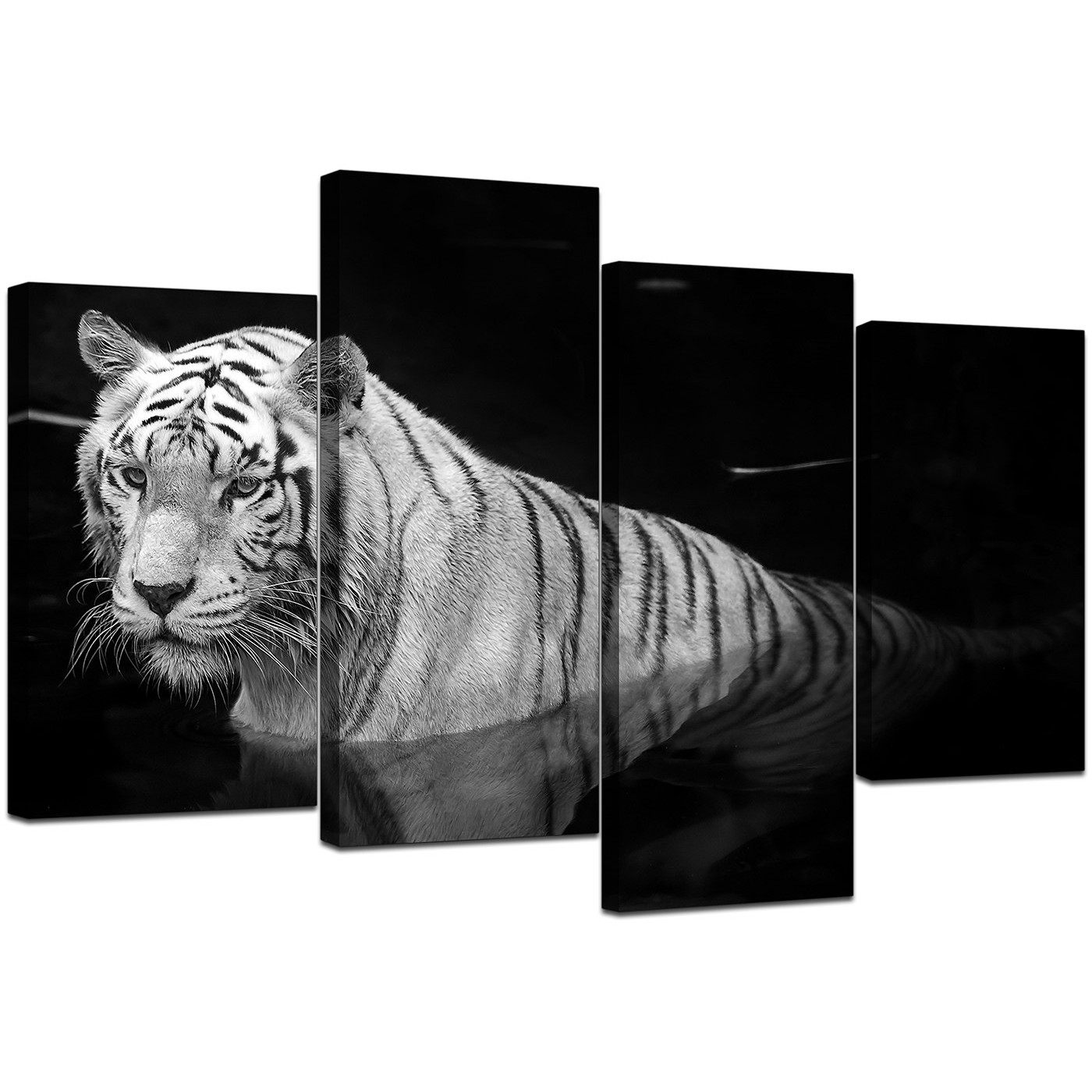 Howling Color Black Four Black Canvas Display Gallery Item Black Display Gallery Item Set Bedroom Black Canvas Art Tiger Canvas Wall Art Canvas Art 2 Piece Set art Black And White Canvas Art
