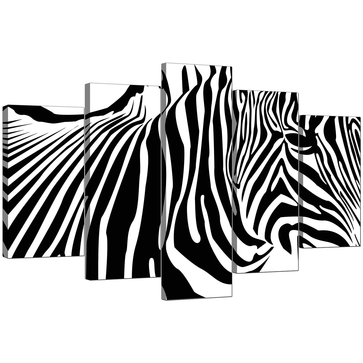 Black And White Canvas Pictures Extra Large Black White Abstract Zebra Stripes Canvas 5 Set 160cm 5022