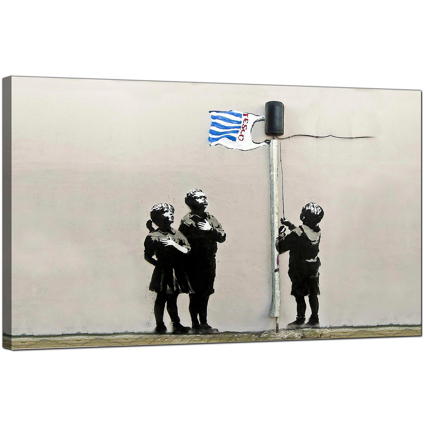 Banksy Canvas Art Large Banksy Tesco Generation Very Little Helps Canvas Art 73cm 169m