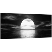 Modern Black and White Canvas Wall Art of an Ocean Sunset