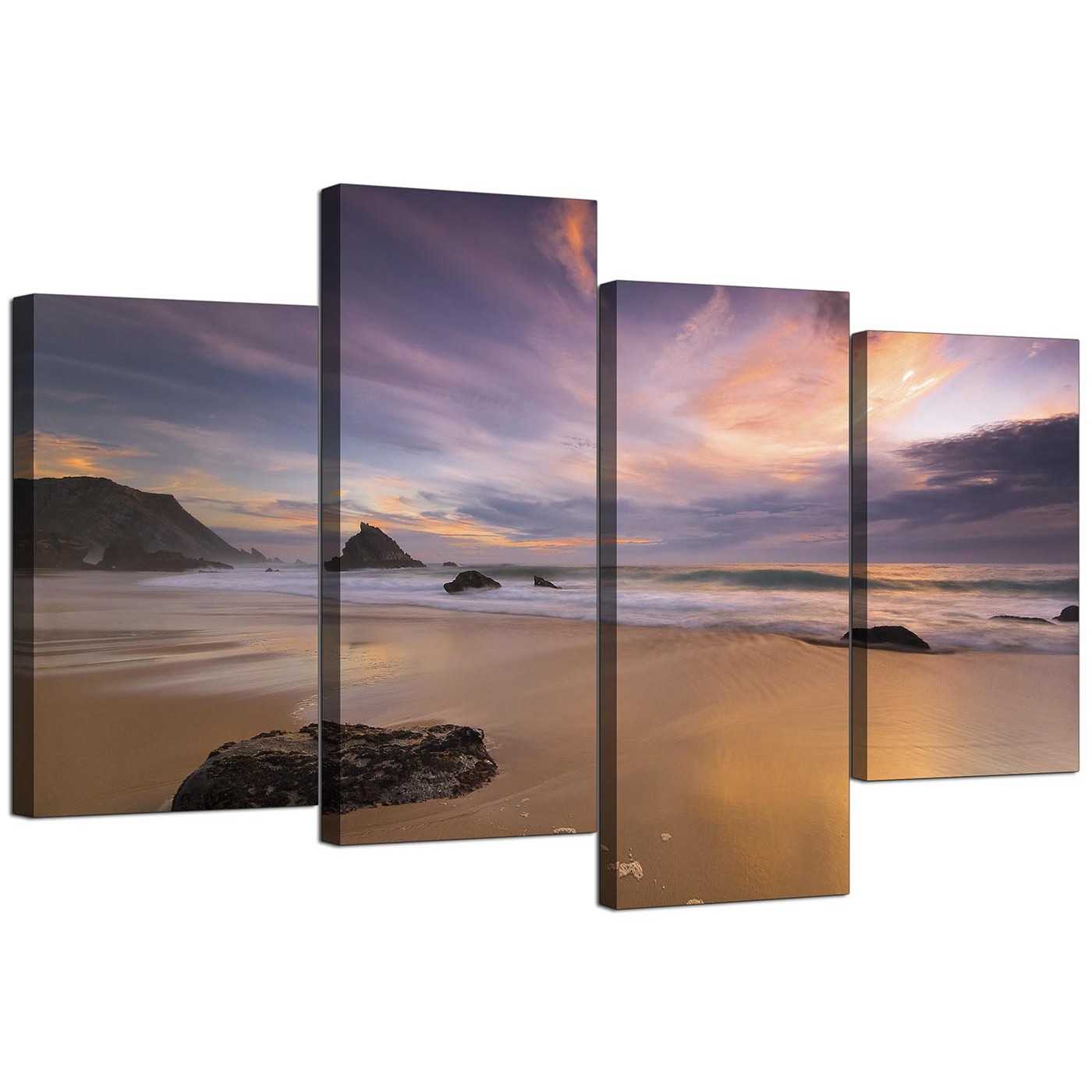 Cheap Canvas Pictures Canvas Prints Of A Beach Sunset For Your Kitchen 4 Panel