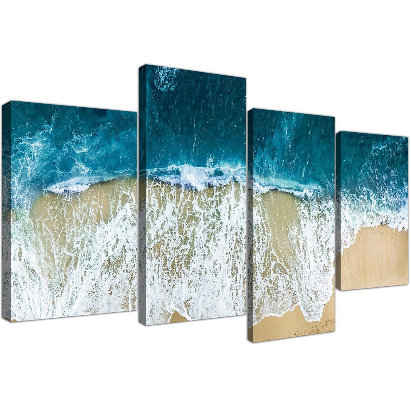 Wall Prints For Living Room Australia Panoramic Ocean Beach Scene Australia Beach Canvas 4 Panel Set 130cm 4244
