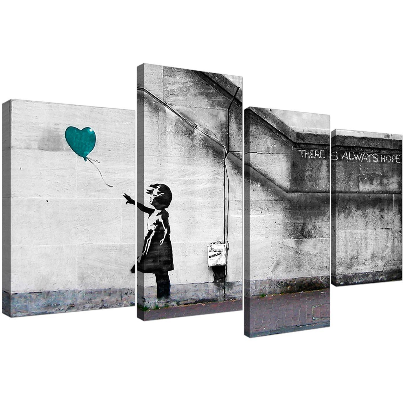 Cheap Canvas Pictures Teal Banksy Balloon Girl Canvas Wall Art 130cm X 67cm