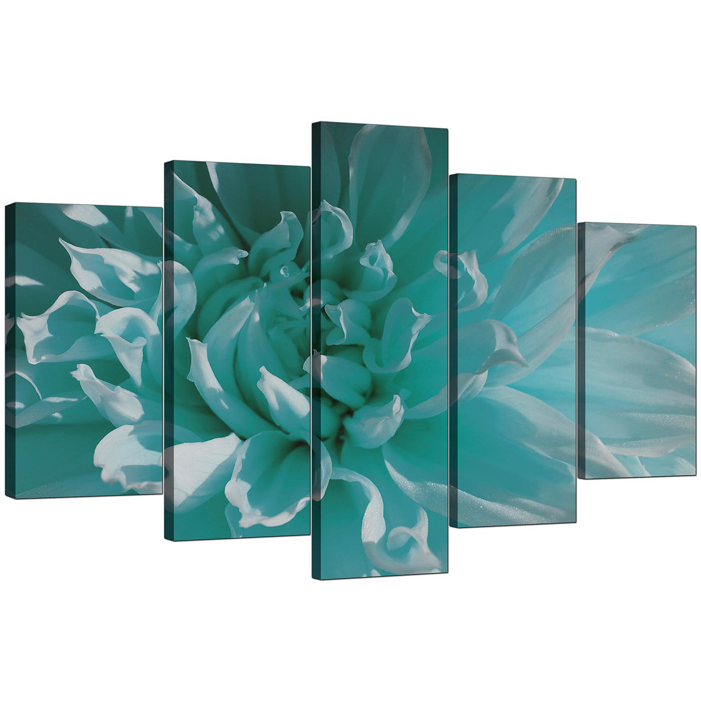 Large Canvas Prints Cheap Extra Large Flower Canvas Wall Art 5 Piece In Teal
