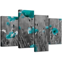 Canvas Art of Teal Poppies in Black & White for your Office