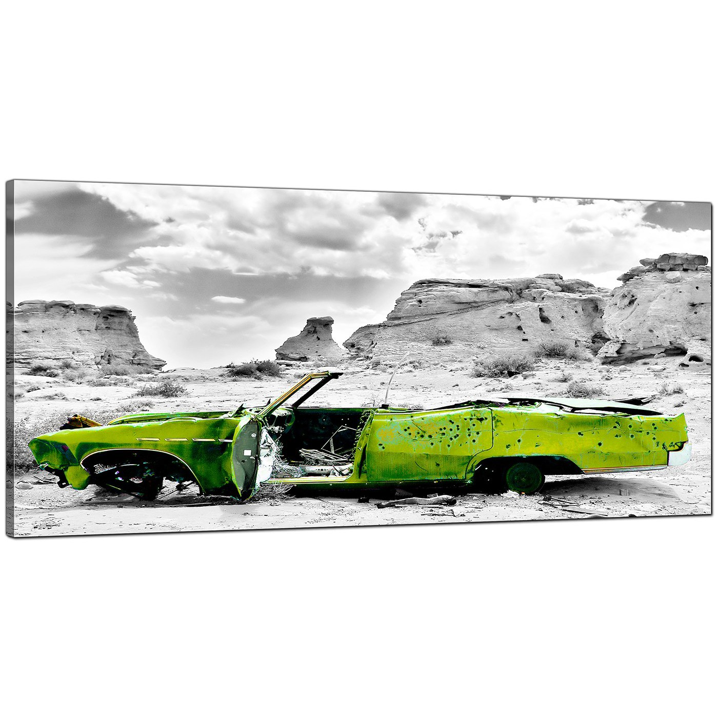 Large Canvas Prints Cheap Cheap Black And White Canvas Wall Art Of A Green Car