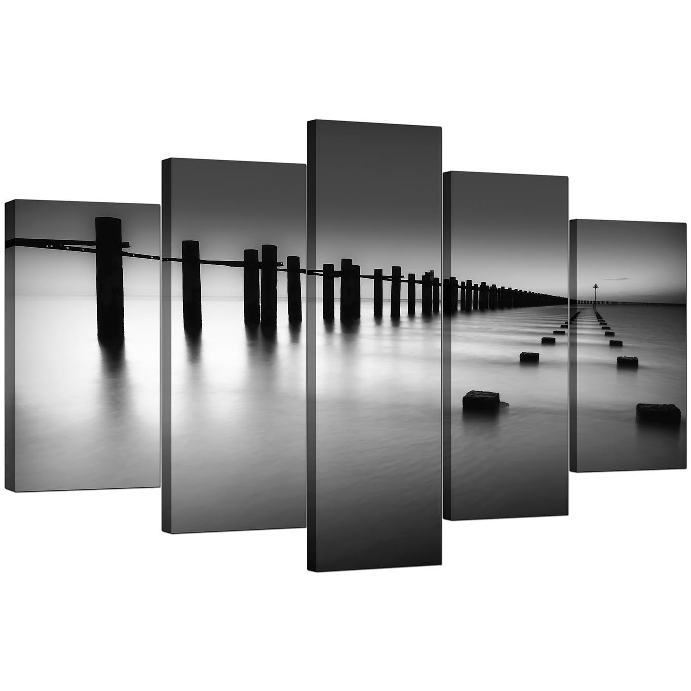Large Canvas Prints Cheap Extra Large Sea Canvas Prints 5 Piece In Black And White