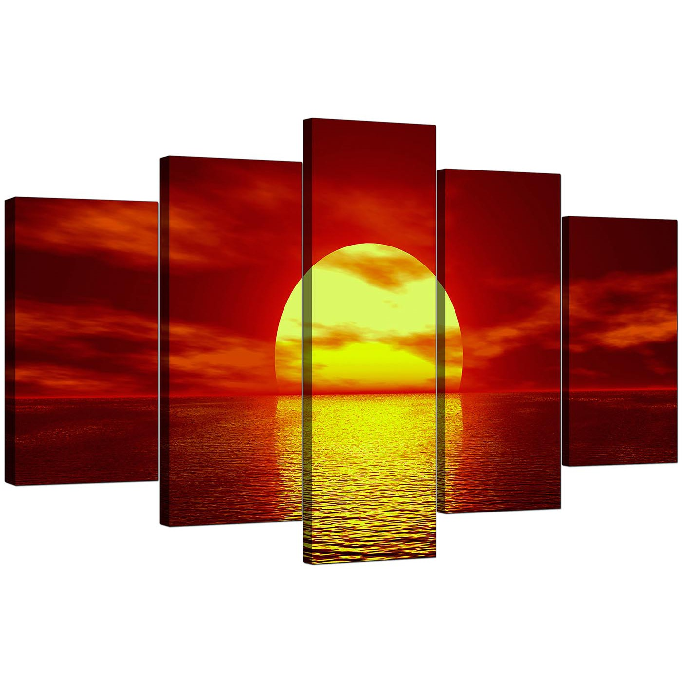 Large Canvas Prints Cheap Extra Large Sunset Canvas Prints Uk Set Of 5 In Red