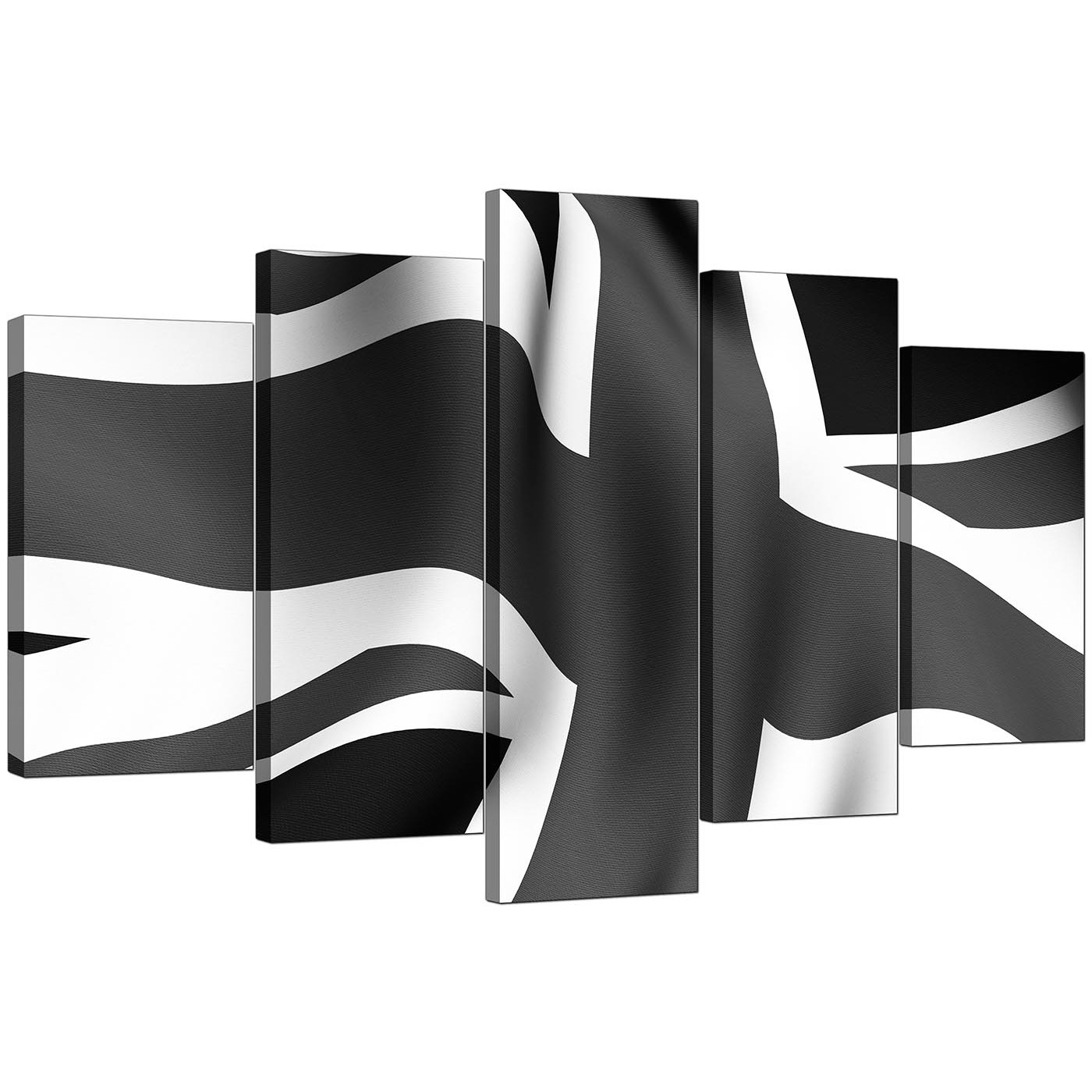Black And White Canvas Pictures Black White Grey Union Jack Flag Abstract Xl Canvas 5 Set 160cm 5019
