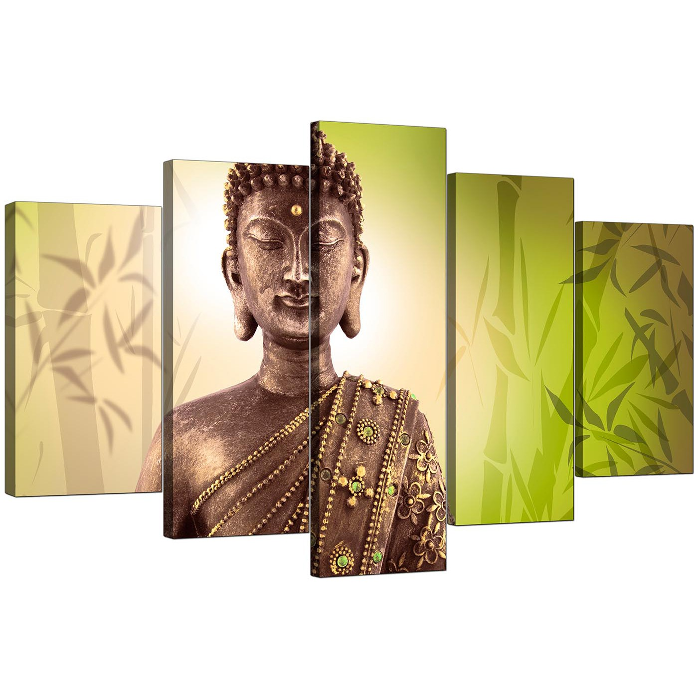 Large Canvas Prints Cheap Extra Large Buddha Canvas Wall Art 5 Piece In Green