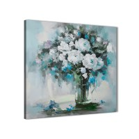Teal White Flowers Painting Bathroom Canvas Wall Art ...