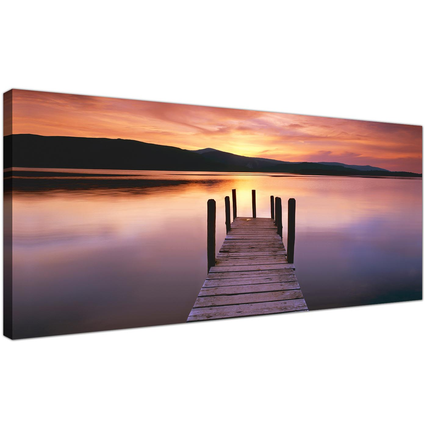 Large Canvas Prints Cheap Wide Canvas Wall Art Of A Lake Sunset For Your Living Room