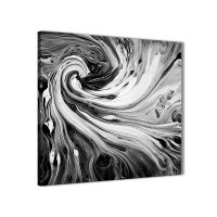 Black White Grey Swirls Modern Abstract Canvas Wall Art