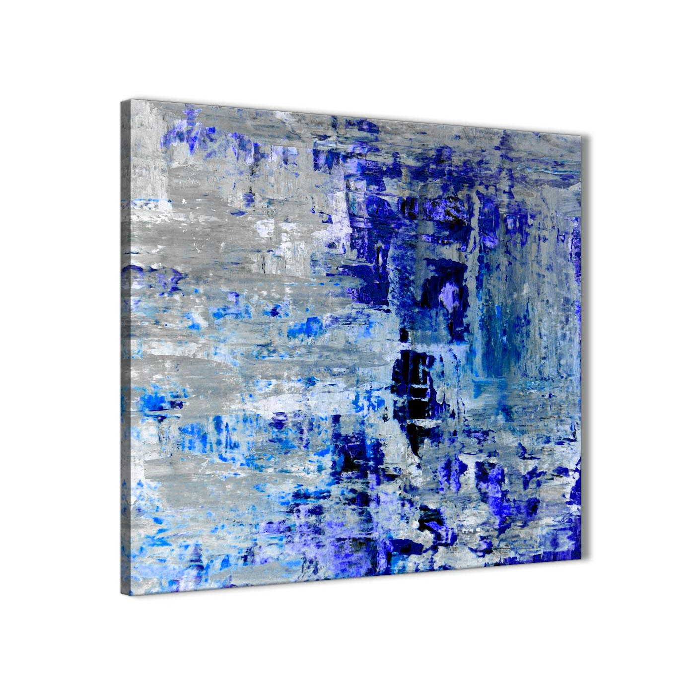 Abstract Art Prints On Canvas Indigo Blue Grey Abstract Painting Wall Art Print Canvas Modern 79cm Square 1s358l