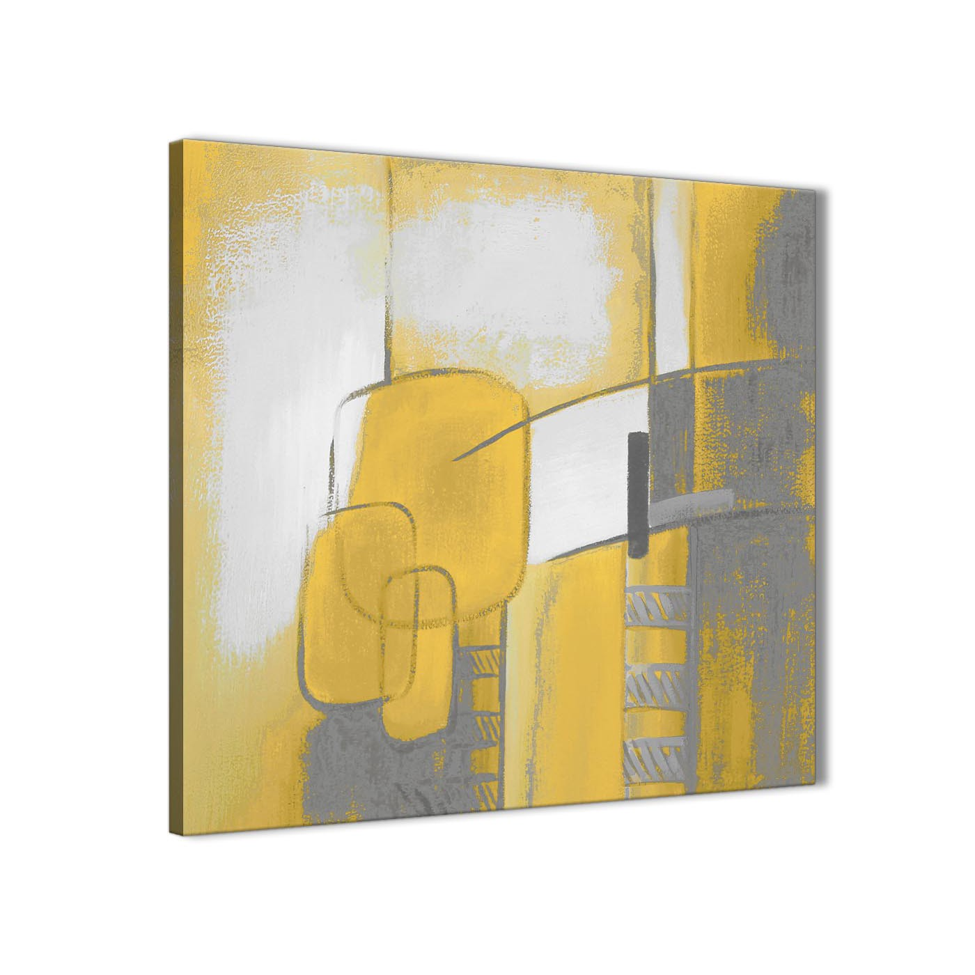 Mustard Yellow Grey Painting Abstract Bedroom Canvas Wall