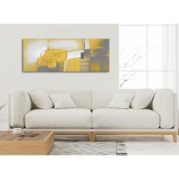 Mustard Yellow Grey Painting Bedroom Canvas Wall Art