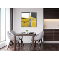 Mustard Yellow Grey Painting Abstract Office Canvas