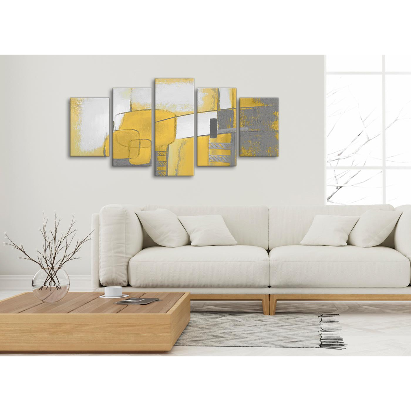 5 Piece Mustard Yellow Grey Painting Abstract Living Room