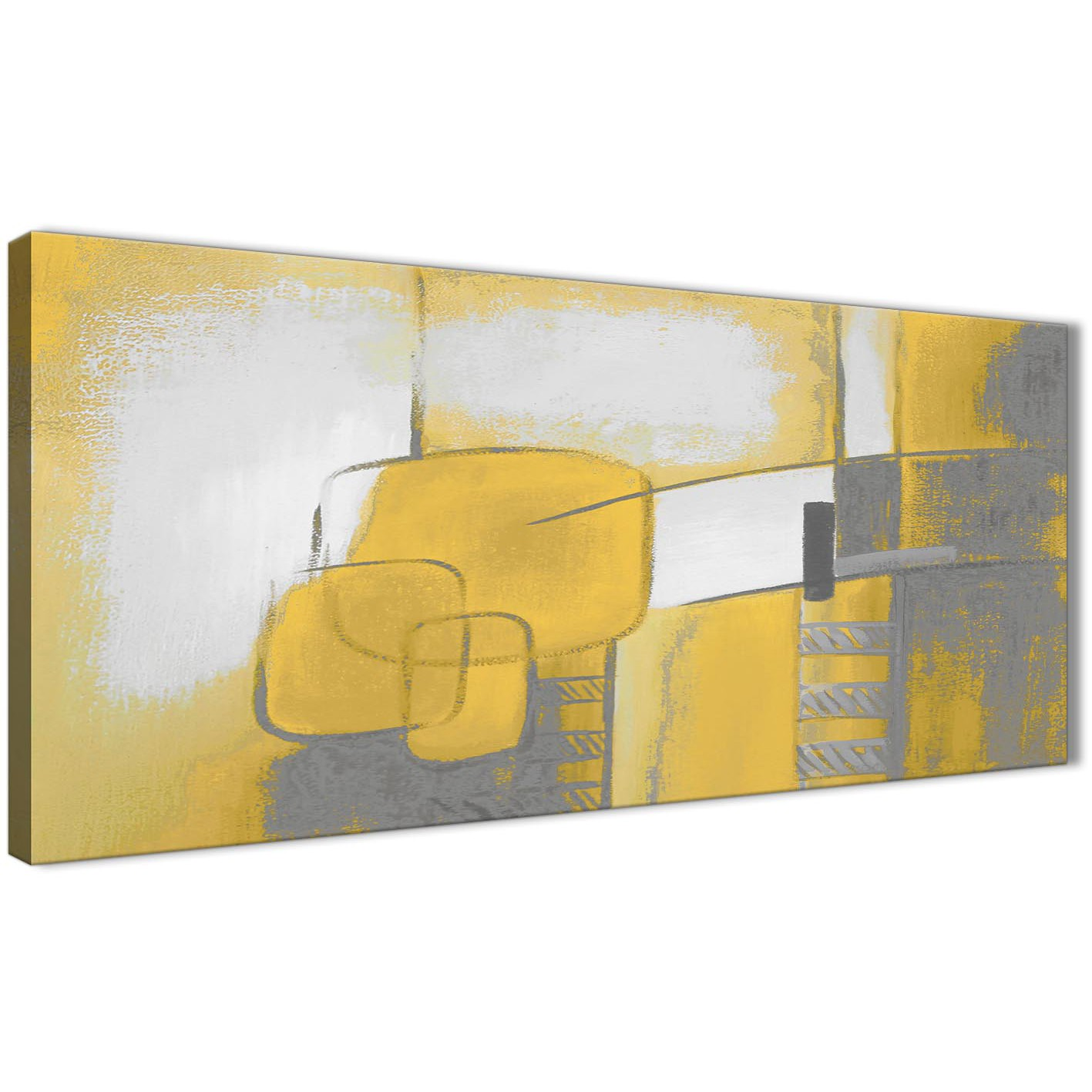 Slaapkamer Accessoires Geel Mustard Yellow Grey Painting Bedroom Canvas Wall Art