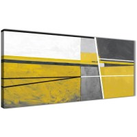 Mustard Yellow Grey Painting Living Room Canvas Wall Art ...