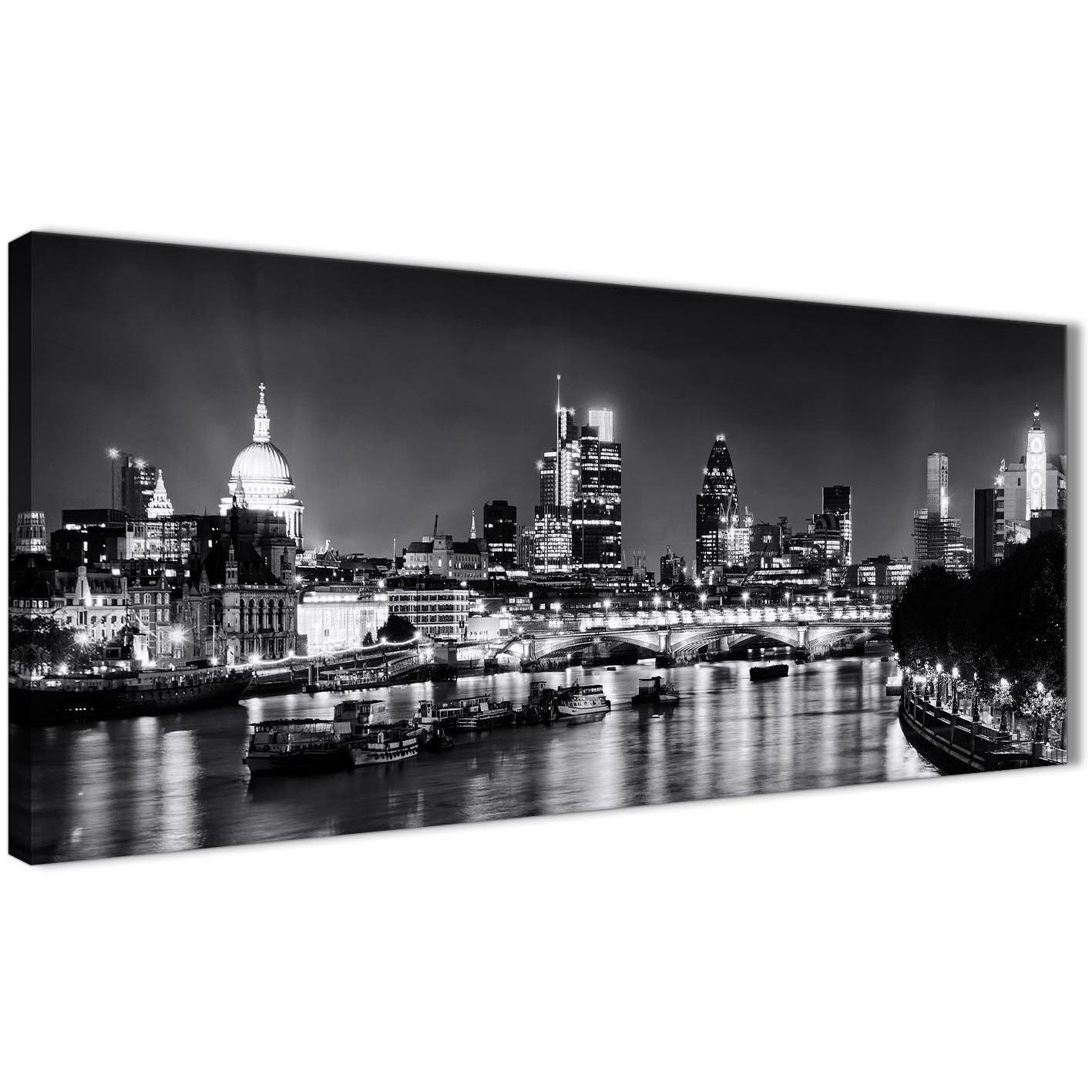 Black And White Canvas Pictures River Thames London Skyline Canvas Art Pictures Cityscape 1430 Black White Grey 120cm Wide Print