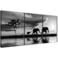 Black White African Sunset Elephants Canvas Wall Art Print ...