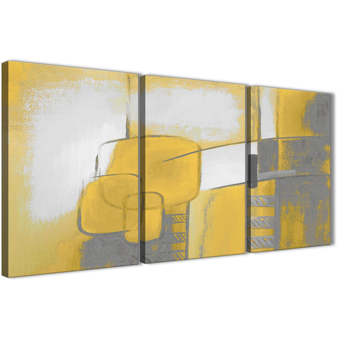 3 Piece Mustard Yellow Grey Painting Kitchen Canvas