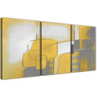 3 Piece Mustard Yellow Grey Painting Kitchen Canvas ...