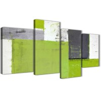 Large Lime Green Grey Abstract Painting Canvas Wall Art ...