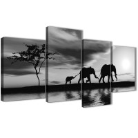 Large Black White African Sunset Elephants Canvas Wall Art ...