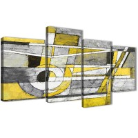 Large Yellow Grey Painting Abstract Bedroom Canvas Wall ...