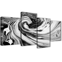 Large Black White Grey Swirls Modern Abstract Canvas Wall ...