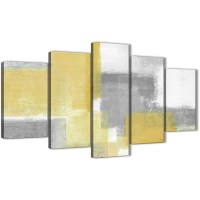 5 Piece Mustard Yellow Grey Abstract Living Room Canvas ...